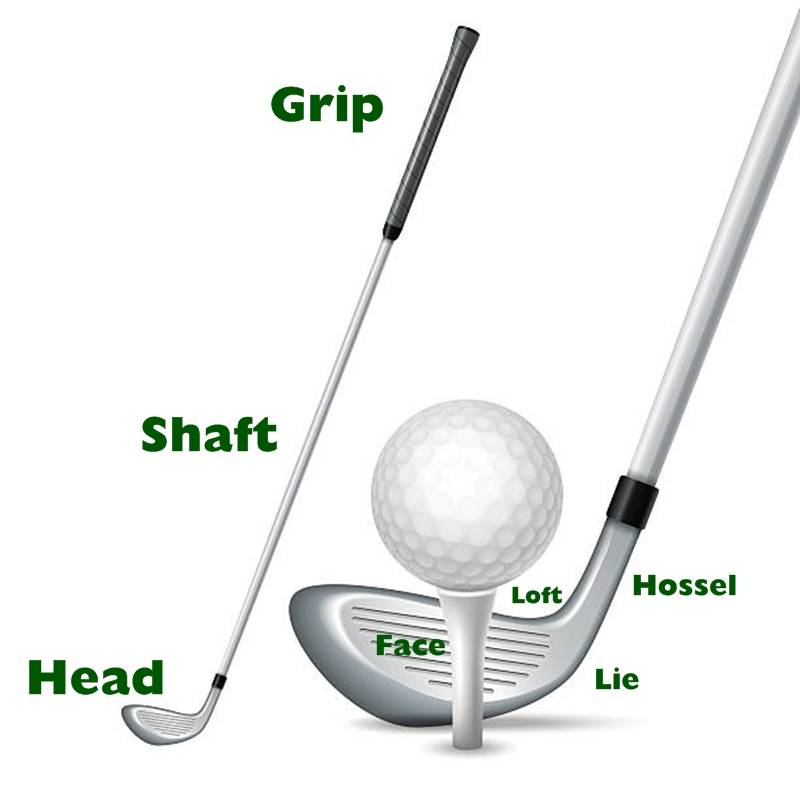 Parts of a golf club, shaft, lie, head, hossel, grip